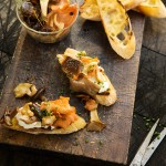 Lightly Pickled Exotic Mushrooms Served as a Bruschetta with Goat's Cheese