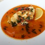 Spanish Garlic Broth with Fish and Chorizo