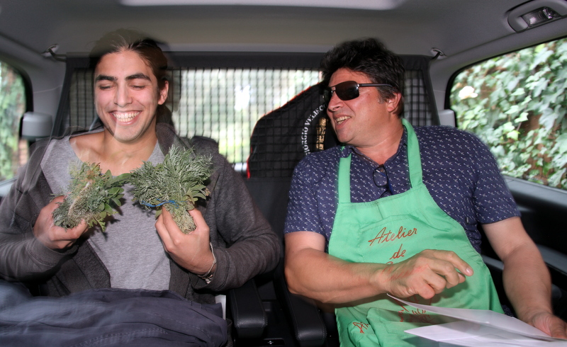 Harry and I in the car wondering how we can bring back both cumin and absinthe herbs, legally of course!